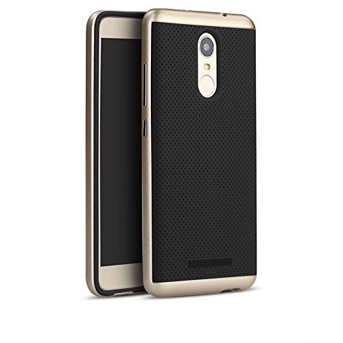 Ntron Original iPaky Brand Luxury High Quality Ultra-Thin Dotted Silicon Back + PC Gold Frame Bumper Back Case Cover for Xiaomi Redmi Note 3 - Gold