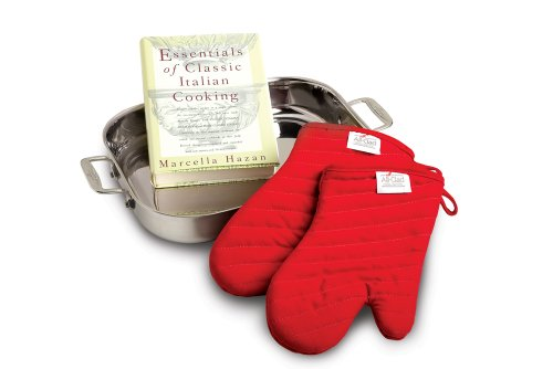 All-Clad 00830 Stainless-Steel Lasagna Pan with 2 Oven Mitts and a Cookbook / Cookware, Silver