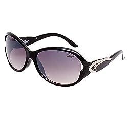 Bling Black Gradient Mercury finish Oval Sunglasses for Women (BS1009 002)