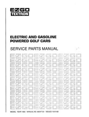 ezgo 80047g1 1983 service parts manual for ezgo gasoline. Black Bedroom Furniture Sets. Home Design Ideas