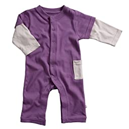 Babysoy Layered One Piece , Eggplant 0-3 Months