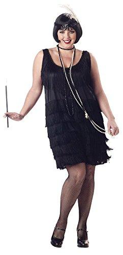 [Women's Fashion Flapper Plus Size Costume] (Plus Size Black Jazz Flapper Costumes)