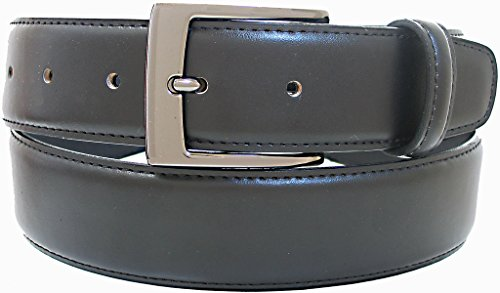 Belt By Ardente, Black, Brown, Gunmetal Buckle, 35mm (1-3/8 Inches Wide) - Style 3601 - Black 58""