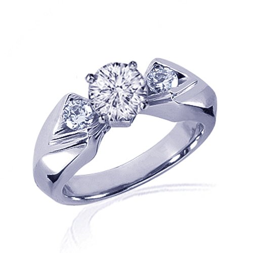 1.30 Ct Round 3 Stone Diamond Engagement Ring