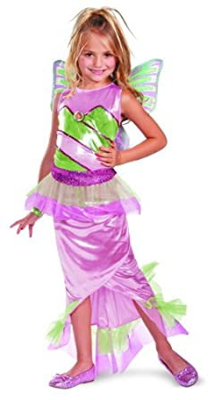 Disguise Girl's Winx Club Flora Mermaid Deluxe Costume, 7-8