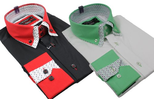 Mens Italian Double Button Collar Shirt Slim Fit White-Green Black-Red Smart or Casual Cotton