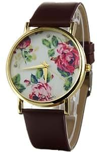 Masione New Geneva Flower Face Style Leather Woman Man Analog Quartz Wrist Watches (Brown)