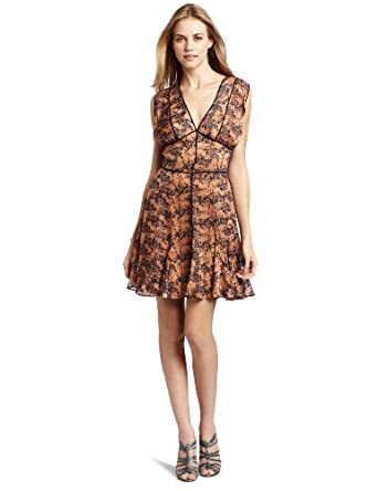 Rebecca Minkoff Women's Lily Blssnt Dress, Copper/Navy, 6