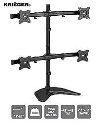 KRI ‹GER KL4327 • Quad Monitor Desk Stand Mount Full Motion Articulating Arm 4 LCD, OLED, 4K Computer Displays, Fits 17, 19, 20, 22, 23, 24, 27 Inch, Fits VESA 75 100, Swivel, Rotate, Tilt, Black