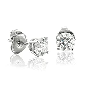 14K White Gold Natural Diamond Stud Earrings
