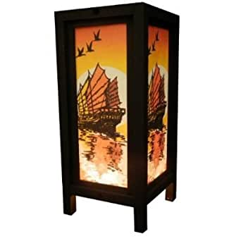 Thai Vintage Handmade Asian Oriental Handcraft Ship Barque Bedside Table Light Or Floor Wood