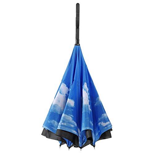 Umgedrehter Regenschirm mit blauem Himmel und C-Griff für freie Hände; Invert-Stockschirm mit 105cm Durchmesser -