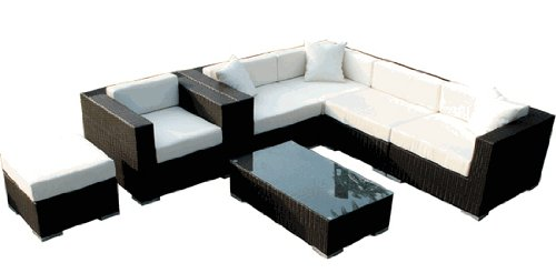 Patio Furniture Set 3pc. Outdoor Manhattan Wicker Sectional and Coffee Table image