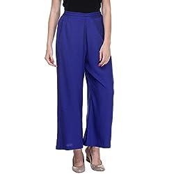 LeModa Women's Plazzo Stylish Blue Color Plain Rayon Palazzo