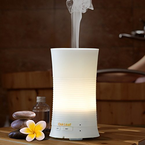 Aromatherapy Essential Oil Diffuser, Oak Leaf 100ml Ultrasonic Mini Cool Mist Aroma Air Humidifier with Soothing Color LED Lights Changing & Waterless