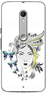 Snoogg Abstract Woman With Elegant Hair Style And Blue Butterflies Designer Protective Back Case Cover For Motorola Moto X Style