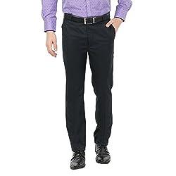 Zido Men'S Slim Fit Black Formal Trouser_ZI15057_Black