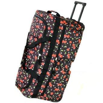 "27"" 70L Extra Large Black Cherry Design Wheeled Holdall Holiday Luggage Weekend Travel Bag On 2 Wheels by LaSoDa"