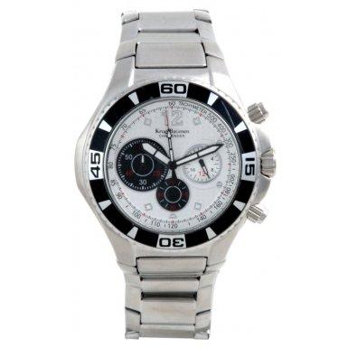 Krug-Baumen Challenger Silver Dial Black Bezel Chronograph