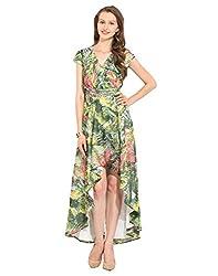 Printed Polyester Maxi Dress Medium