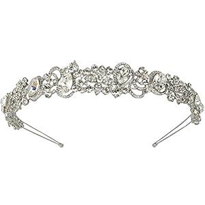 Ever Faith Silver-Tone Austrian Crystal Wedding Flower Vine Tear Drop Head Band Clear N05505-1