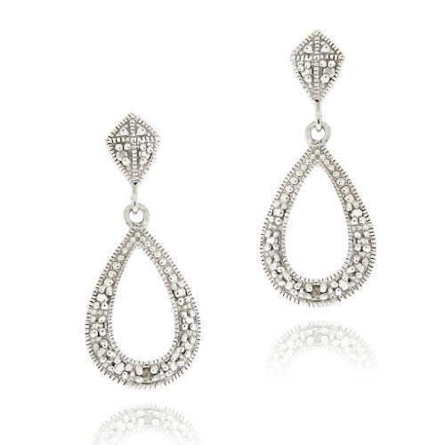 Sterling Silver Diamond Accent Open Teardrop Dangle Earrings