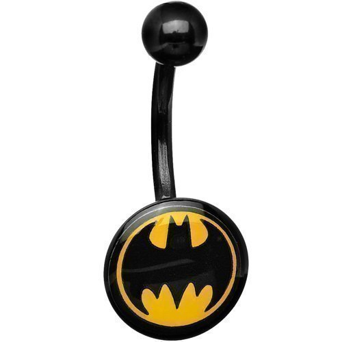 Piercing acrilico nero con logo Batman da ombelico