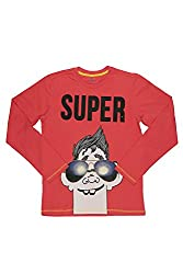 Poppers by Pantaloons Boy's Round Neck T-Shirt (205000005613251, Red, 9-10 Years)