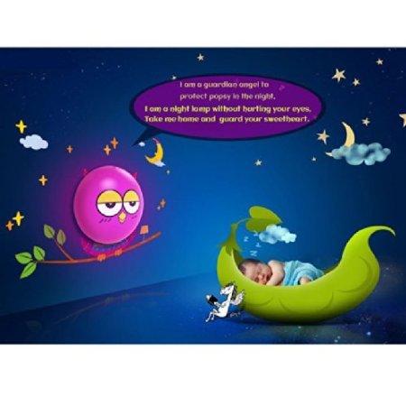 Mini Shop 3D Creative Cartoon Cute Diy Night Light Wall Sticker Home Modern Decoration Room Lamp Led Saving Light, Mural Kid Nursery Night Light Suit For Baby,Children, Kids(Owl) front-863951
