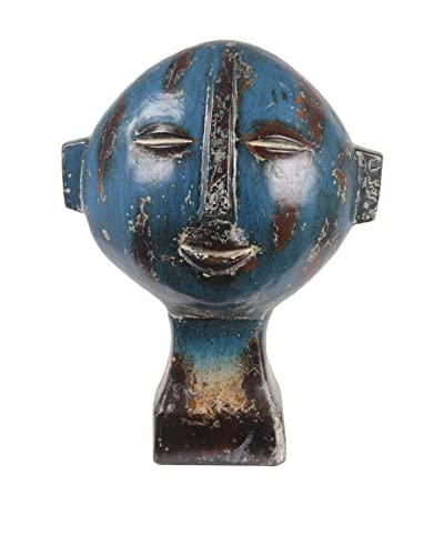 Privilege Short Ceramic Head Sculpture, Blue