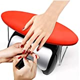 Nail Arm Rest, Professional Microfiber Leather Manicure Hand Pillow Nail Rest Cushion Table Desk Station for Nail Technician Use (Red) (Color: Red)