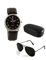 Lime Black Leather Round Analog Watch With Free Sunglasses