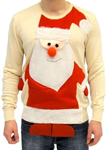 Ugly Christmas Sweater Santa Claus Full Body Adult Beige Sweater (Adult X-Large)