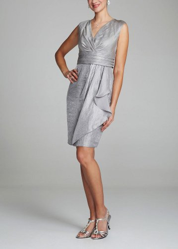 David's Bridal Cap Sleeve Shimmer Dress with Side Ruffle Style L3609M, Steel, 8