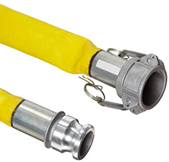 Continental ContiTech Spiraflex Yellow Heavy Duty PVC Water Discharge Hose Assembly, Aluminum Cam And Groove Couplings