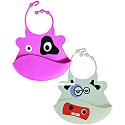 Cathy Cow and Patricia the Purple Monster Silicone Baby Bib 2 Pack - Tykes and Tails - Wipeable Food Grade Ultra Flexible Design for Ultra Comfort for your Baby