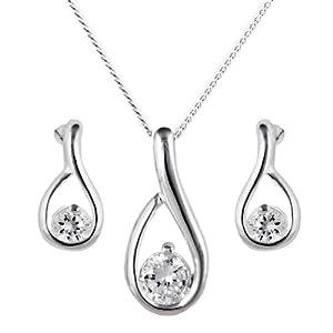 Silver Ladies' Cubic Zirconia Set Loop Pendant and Stud Earrings Set