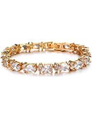 Cyan 18 K Gold Plated Cubic Zircon Bracelet For Women
