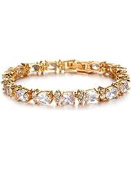 Cyan 18 K Gold Plated Cubic Zircon Bracelet For Women