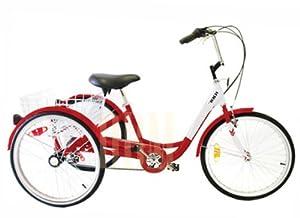 Adult Red Tricycle Bicycle 24 3 Wheel Bike Basket Beach Trike Cruise 6 Speed by Generic