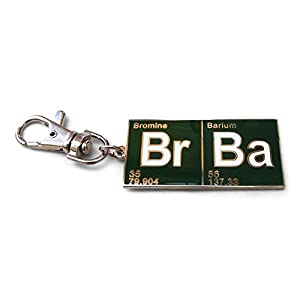 TV Inspired Br Ba Periodic Table Green and Silver Tone Metal Key Ring/Clip.