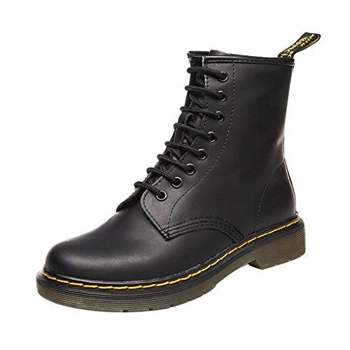 ELEHOT Donna Eleit tacco a blocco 3.5CM Leather Stivali, nero, 40