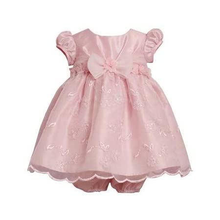 Bonnie Baby-girls Infant Empire Waist Dress with Embroidered Skirt, Pink, 24 Months