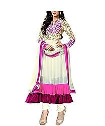RadadiyaTRD Pink Georgette Dress Material