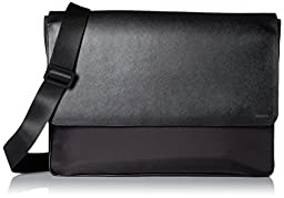 Calvin Klein Men\'s Nylon / Saffiano Messenger, Black, One Size