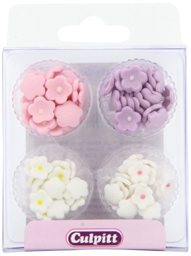 Culpitt Sugar Cake Decorations Assorted Mini Flowers (Pack of 1, Total 100 Decorations)