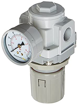 "PneumaticPlus SAR4000M-N04BG Air Pressure Regulator 1/2"" NPT with Gauge & Bracket"