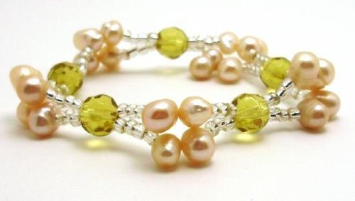 Freshwater Pearls with Yellow Beads Stretch Bracelet 7.5 inches