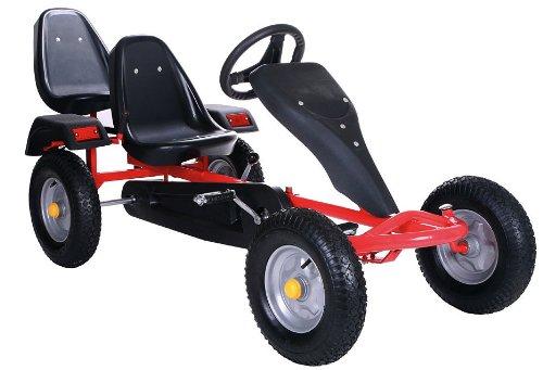 Robustes Zweisitzer Go-Kart / Tretauto von Kid 'n Joy in rot / schwarz - mit CE-Label
