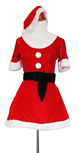 Black Temptation Women's Red Short Sleeve Christmas Costume Fancy Dress